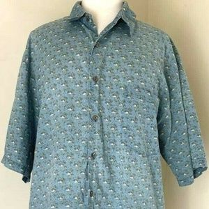 Tori Richard Shirts - Tori Richard Shirt XL Blue Tiki Aloha Hawaiian